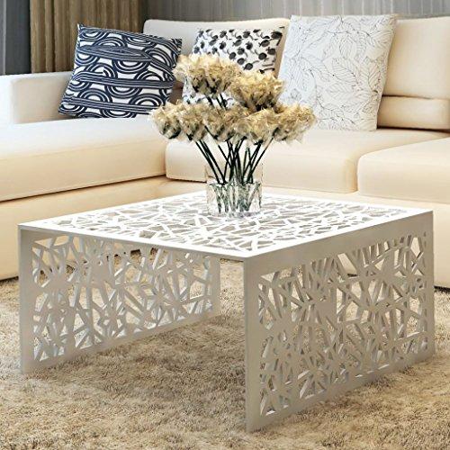 vidaXL Design Couchtisch Aluminium Beistelltisch Wohnzimmer Sofatisch Lochmuster Silber