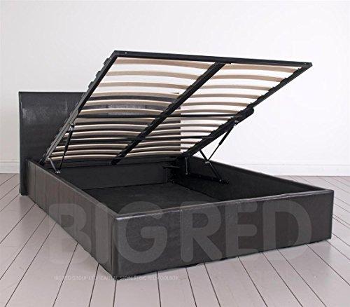 4 15 2 cm leder double bett mit stauraum in braun nur rahmen niedrigem fu teil m bel24. Black Bedroom Furniture Sets. Home Design Ideas