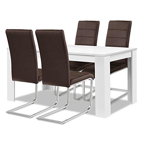 Agionda ® Esstisch Stuhlset : 1 x Esstisch Toledo Weiss 140 x 90 + 4 Freischwinger braun