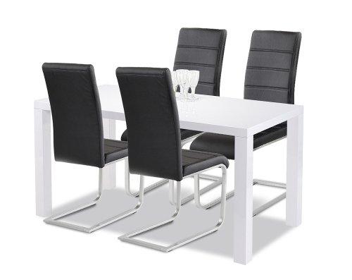 Agionda Esstisch + Stuhlset : 1 x Esstisch Göteborg 120 Hochglanz weiss + 4 Freischwinger schwarz