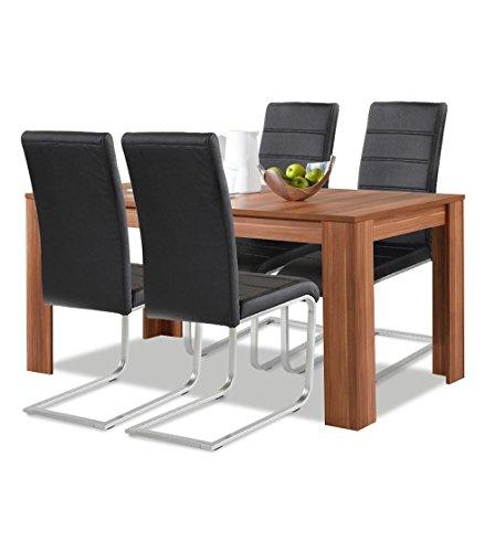 Agionda® Esstisch + Stuhlset : 1 x Esstisch Toledo Nussbaum 120 x 80 + 4 Freischwinger schwarz