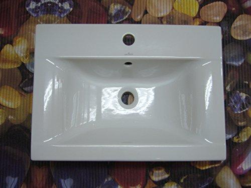 keramik waschbecken einbauwaschtisch 60 x 44 cm rechteckig wei mit 1 hahnloch m bel24. Black Bedroom Furniture Sets. Home Design Ideas