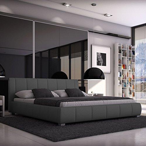 luna polsterbett 140x200 cm doppelbett bett designerbett kunstleder grau m bel24 shop xxxl. Black Bedroom Furniture Sets. Home Design Ideas
