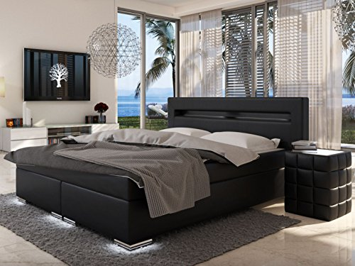 sam design boxspringbett mit samolux bezug in schwarz. Black Bedroom Furniture Sets. Home Design Ideas