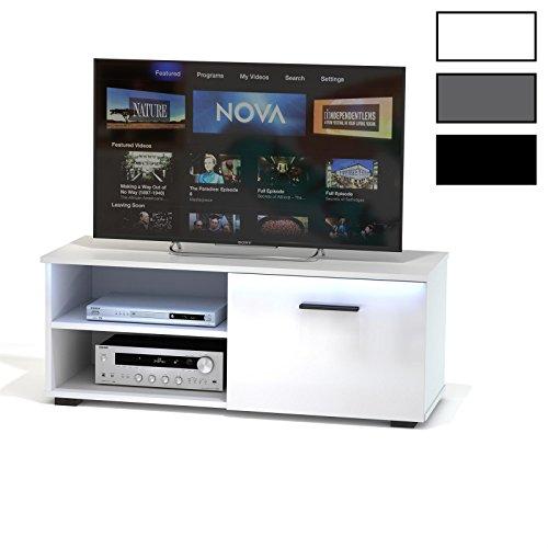 tv lowboard bank fernsehtisch malibu in wei hochglanz mit. Black Bedroom Furniture Sets. Home Design Ideas