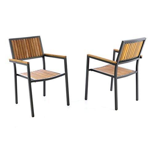 2er Set Gartenstuhl Stapelstuhl Holzstuhl Terrassenstuhl mit Armlehnen – Hartholz Aluminium – 85x55x52 cm – pflegeleicht robust stapelbar – B-Ware - grau