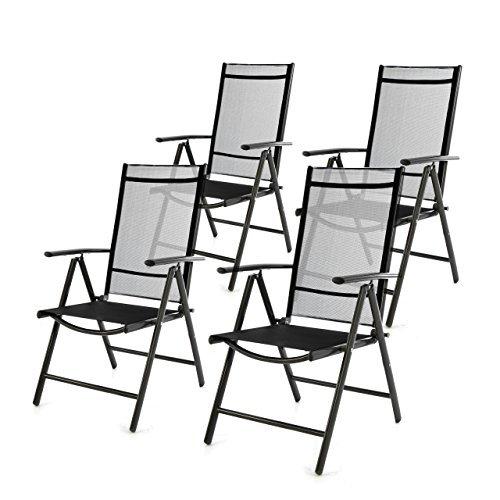 4er Set Klappstuhl schwarz 7-fach-verstellbar Gartenstuhl Aluminium mit Armlehne Hochlehner witterungsbeständig Rahmen anthrazit Balkonstuhl leicht stabil