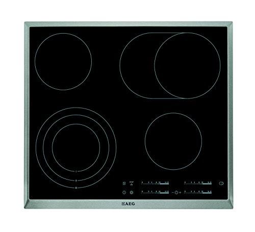 AEG HK654070XB Einbaukochfeld / autarkes Glaskeramikfeld mit 4 ultra-schnellaufglühenden Kochzonen / 3-stufige Restwärmeanzeige und Kindersicherung / 60 cm Kochfeld mit Edelstahlrahmen / schwarz & silber
