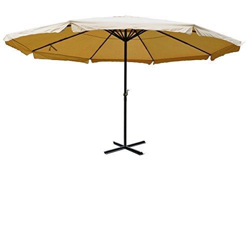 Alu-Sonnenschirm Meran, Gastronomie Marktschirm mit Volant Ø 5m ~ creme ohne Ständer