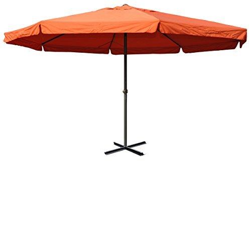 Alu-Sonnenschirm Meran, Gastronomie Marktschirm mit Volant Ø 5m ~ terrakotta ohne Ständer