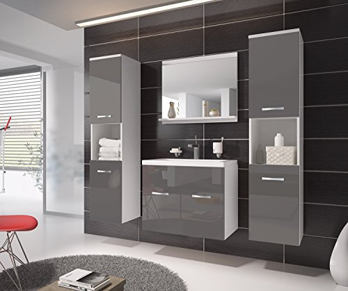badezimmer badm bel montreal xl 60 cm waschbecken grau hochglanz fronten unterschrank. Black Bedroom Furniture Sets. Home Design Ideas
