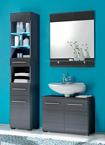 Badezimmer CHROME 3-tlg. Badmöbel Komplett-Set, Dekor grau-metallic