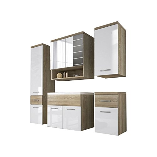Badmöbel Set Bella II mit Waschbecken und Siphon, Modernes Badezimmer, Komplett, Spiegel, Waschtisch, Hochschrank, Hängeschrank Möbel