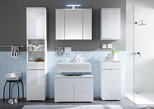 Badmöbel Set SPICE 5-tlg Bad Badschrank Badezimmer in Hochglanz weiß Modell 2016 mit LED Licht