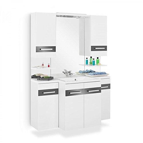 Badmöbel-Set mit Waschbeckenunterschrank Waschtisch Spiegel 2x Unterschrank 2x Hängeschrank Spiegelregal LED Beleuchtung Komplettbad Weiß Hochglanz (Weiß Hochglanz Anthrazit)