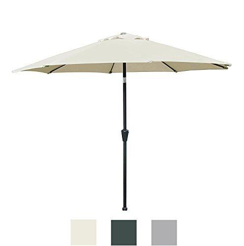 Blissun Sonnenschirm, 275 cm, Terrassenschirm, Aluminium, manueller Druckknopf zum Kippen, mit Kurbel, für Garten