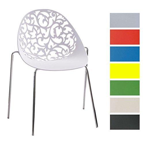 clp design retro stapelstuhl faith aus kunststoff mit stabilem metallgestell platzsparender. Black Bedroom Furniture Sets. Home Design Ideas