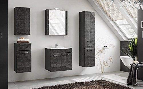 Comad Viento Badmöbel-Set 6-teilig in Graphit Hochglanz, mit Waschtich 60 oder 80 cm, mit LED-Beleuchtung