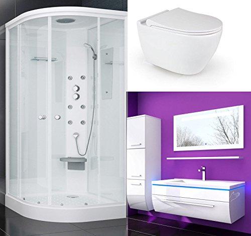 Duschkabine 90x90 WC Sitz Randlos und Absenkautomatik Hänge WC Keramik 70 cm Badmöbel Set