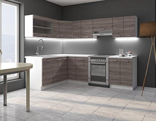 Eckküche Küche Dave 170x250 cm Küchenzeile Küchenblock Winkelküche Sonoma Eiche