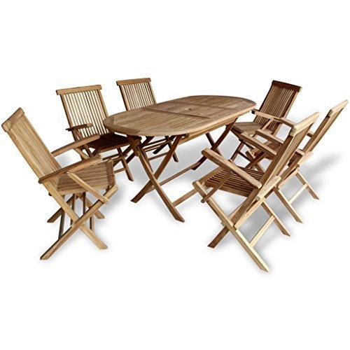 festnight 7 tlg outdoor gartenm bel set aus teakholz. Black Bedroom Furniture Sets. Home Design Ideas