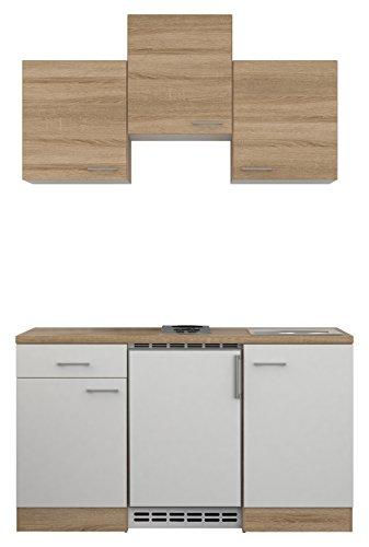 Flex-Well 00007634 Singleküche Samoa 150 cm weiß, Sonoma Eiche inklusive Elektrogeräte und Einbauspüle