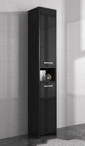 freistehend badezimmer schrank hoch schrank 168 cm schwarz hochglanz badm bel m bel24. Black Bedroom Furniture Sets. Home Design Ideas