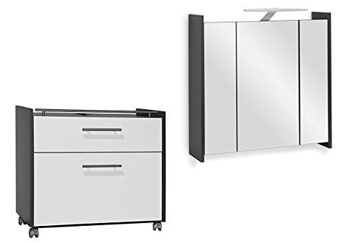 Galdem Badmöbel-Set mit Waschbeckenunterschrank Spiegelschrank mit LED Beleuchtung Badezimmer Bad-Set Anthrazit Weiss Hochglanz