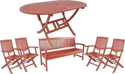 garden pleasure gartengarnitur stockholm 6 tlg sitzgruppe aus ge ltem fsc eukalyptus tisch 4. Black Bedroom Furniture Sets. Home Design Ideas