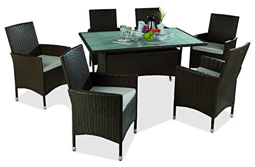 gartenm bel set essgruppe sitzgruppe 13 tlg utt braun. Black Bedroom Furniture Sets. Home Design Ideas