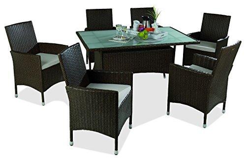 gartenm bel set essgruppe sitzgruppe 13 tlg utt braun beige kunststoff stahl tisch mit. Black Bedroom Furniture Sets. Home Design Ideas
