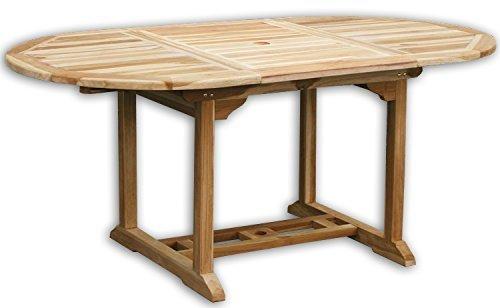 KMH®, Ausziehbarer Teak Gartentisch (120 - 180 x 100cm) (#102111)