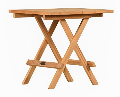 Klappbarer teakholz beistelltisch mit tragegriff for Holztisch klein