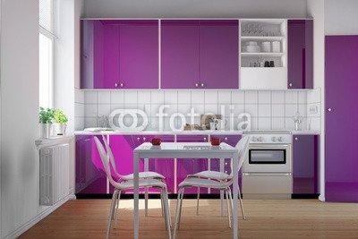 Kleine Küche mit lila Küchenzeile(82007695)