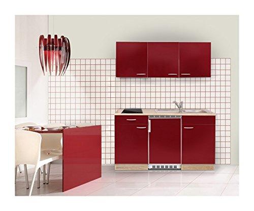 Mebasa MEBAKB15RAC MiniKüche, Küchenblock, Singleküche in Akazie / Rot hochglanz 150 cm, inkl. Kühlschrank, Ceranfeld und Edelstahlspüle, erhältlich in 2 Farben (Akazie - rot)