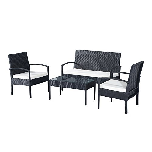 outsunny polyrattan sitzgruppe garnitur lounge sofa. Black Bedroom Furniture Sets. Home Design Ideas