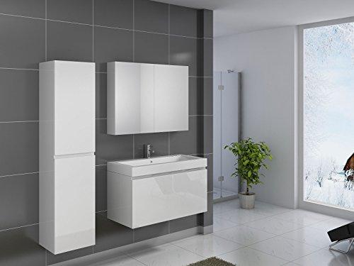 SAM® Badmöbel-Set 3-tlg, Parma, hochglanz weiß, Softclose Badezimmermöbel, Waschplatz 100 cm Mineralgussbecken, Spiegelschrank, Hochschrank