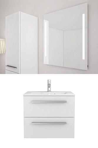 Sieper Libato Waschtischunterschrank + Leuchtspiegel - 60 cm 90 cm 120 cm Breit - weiß und anthrazit Hochglanz - Badmöbel Badezimmermöbel Waschtisch Unterschrank Badmöbel Set …