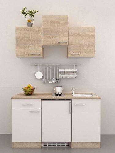 singlekche 150 cm breit wei sonoma eiche mit gerten salerno 0 m bel24 shop xxxl. Black Bedroom Furniture Sets. Home Design Ideas