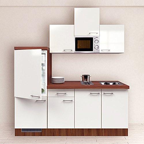 Singleküche Nussbaum 210 cm Pantryküche Kueche Perlmutt weiß Glanz mit Kühlschrank Spüle Mikrowelle Küchenblock