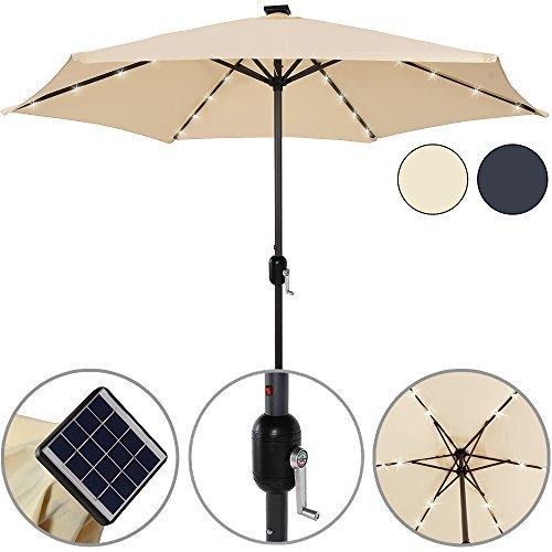 Sonnenschirm Alu 24 LED Solar Ø 270cm - Kurbelsonnenschirm Gartenschirm Ampelschirm