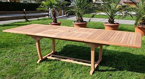 TEAK XXL Ausziehtisch Holztisch Gartentisch Garten Tisch L: 200/250/300cm B: 100cm 2fach ausziehbar Gartenmöbel Holz geölt sehr robust Modell: TOBAGO-300 von AS-S
