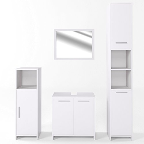 vicco badm bel set kiko wei hochglanz grau beton badspiegel unterschrank bad. Black Bedroom Furniture Sets. Home Design Ideas