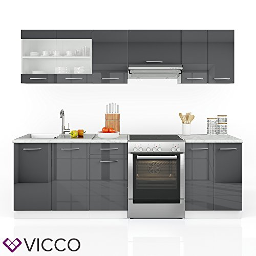 vicco k che 240 cm k chenzeile k chenblock einbauk che anthrazit hochglanz frei. Black Bedroom Furniture Sets. Home Design Ideas
