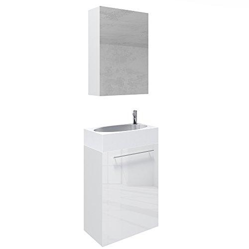 vicco waschplatz 45 cm wei hochglanz badm bel set unterschrank waschbecken spiegelschrank. Black Bedroom Furniture Sets. Home Design Ideas
