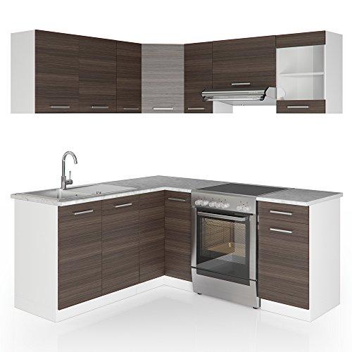VICCO Winkelküche Küchenzeile 190 x 170 cm - 9 Schrank-Module frei kombinierbar - Eckküche L-Küche Grau Küchenblock Einbauküche Ecke Anthrazit Edelgrau