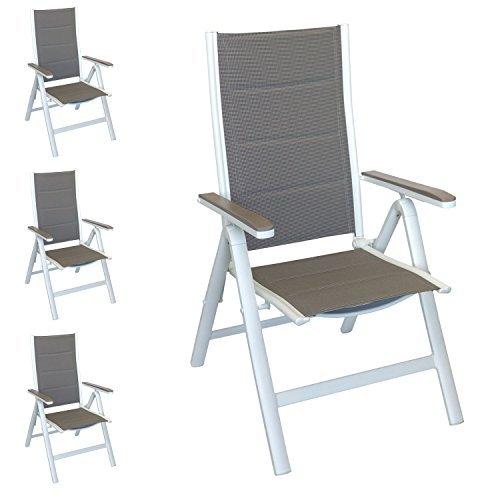 Wohaga® 4er Set Liegestuhl Gartenstuhl mit gepolsterter Textilenbespannung, Hochlehner mit Aluminiumgestell in Weiß, Lehne in 6 Positionen verstellbar, platzsparend klappbar