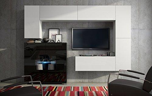 Wohnwand Matt Schwarz ~ Wohnwand future 8 anbauwand moderne wohnwand matt schwarz weiß