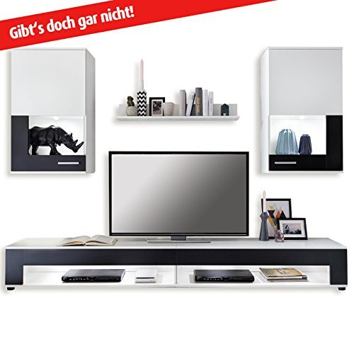 wohnwand square wei schwarz 5 teilig m bel24 shop xxxl. Black Bedroom Furniture Sets. Home Design Ideas