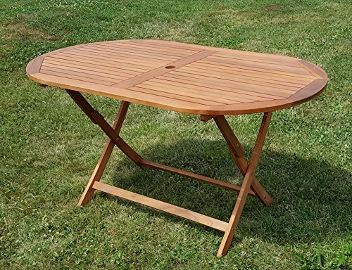 klappbarer gartentisch holztisch tisch oval 150x85cm barbados aus eukalyptus wie teak von as s. Black Bedroom Furniture Sets. Home Design Ideas